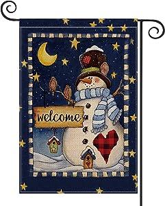 AVOIN Christmas Welcome Snowman Moon Star Garden Flag Vertical Double Sized, Winter Holiday Love Heart Cardinal Bird Yard Outdoor Decoration 12.5 x 18 Inch