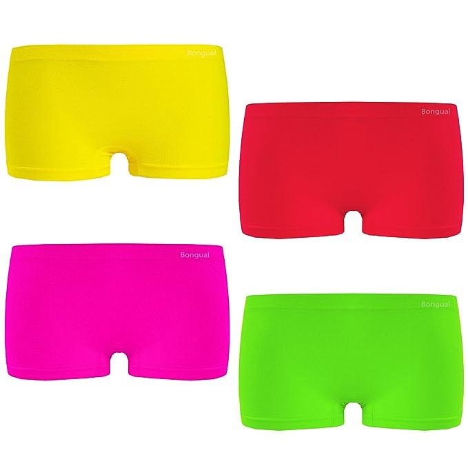 4 Damen Panties Seamless Hipster Panty Hotpant Boxershort Microfaser Neon Color