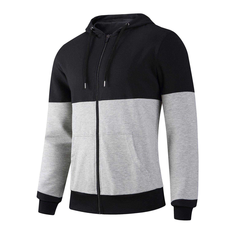 AIRAVATA Men's Casual Fashion Hoodie Zip up Long Sleeve Outerwear Coat