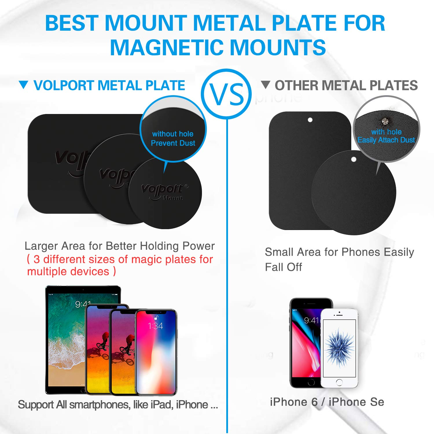 Vent//CD//Windshield//Dashboard - Rectangle and Round VM0003US Metal Plate for Phone Magnet 8 Pack Volport MagicPlate with 3M Adhesive Replacement for Magnetic Phone Car Mount Holder /& Cradle /& Stand
