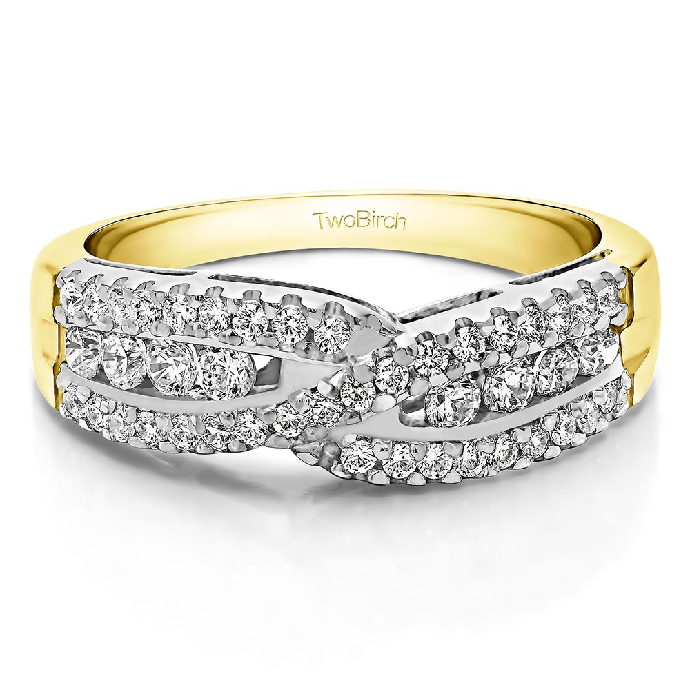 Two Tone Silver Wedding Band Charles Colvard Created Moissanite(0.52Ct)Size 3 To 15 in 1/4 Size Intervals