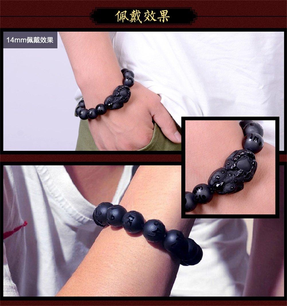 KOREA-JIAEN Pixiu Brecelet 16mm Natural Obsidian Bead Brecelet Bangle (16mm Bead, A) by KOREA-JIAEN (Image #6)