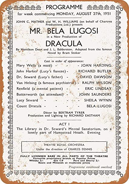 Amazon.com: TiuKiu Vintage Metal Signs - 1951 Bela Lugosi As ...