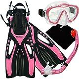 Promate Junior Snorkeling Scuba Diving Mask Dry Snorkel Fins Set for Kids/ SCS0040