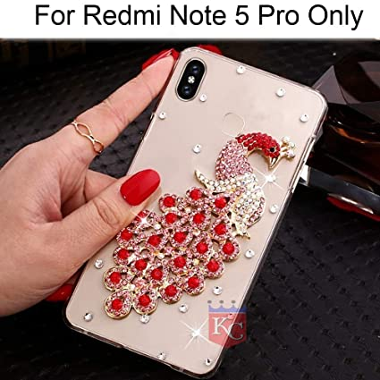 best website dbf6b 7db17 KC Luxury Diamond Studs Gold Peacock Case Soft Transparent Back Cover for  Mi Redmi Note 5 Pro (Red)