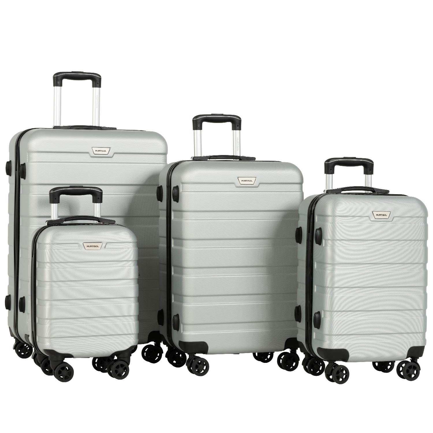 Murtisol 4 Pieces ABS Luggage Sets TSA Lightweight Durable Spinner Suitcase Aluminum Retractable Handle 16'' 20'' 24'' 28'', 4PCS Sliver by Murtisol