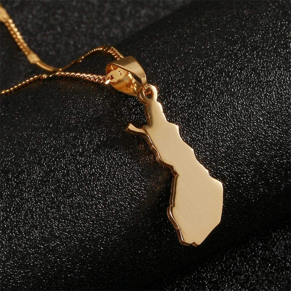 Stainless Steel Suomen Tasavalta Map Pendant Necklaces Suomi Finland Maps Jewelry
