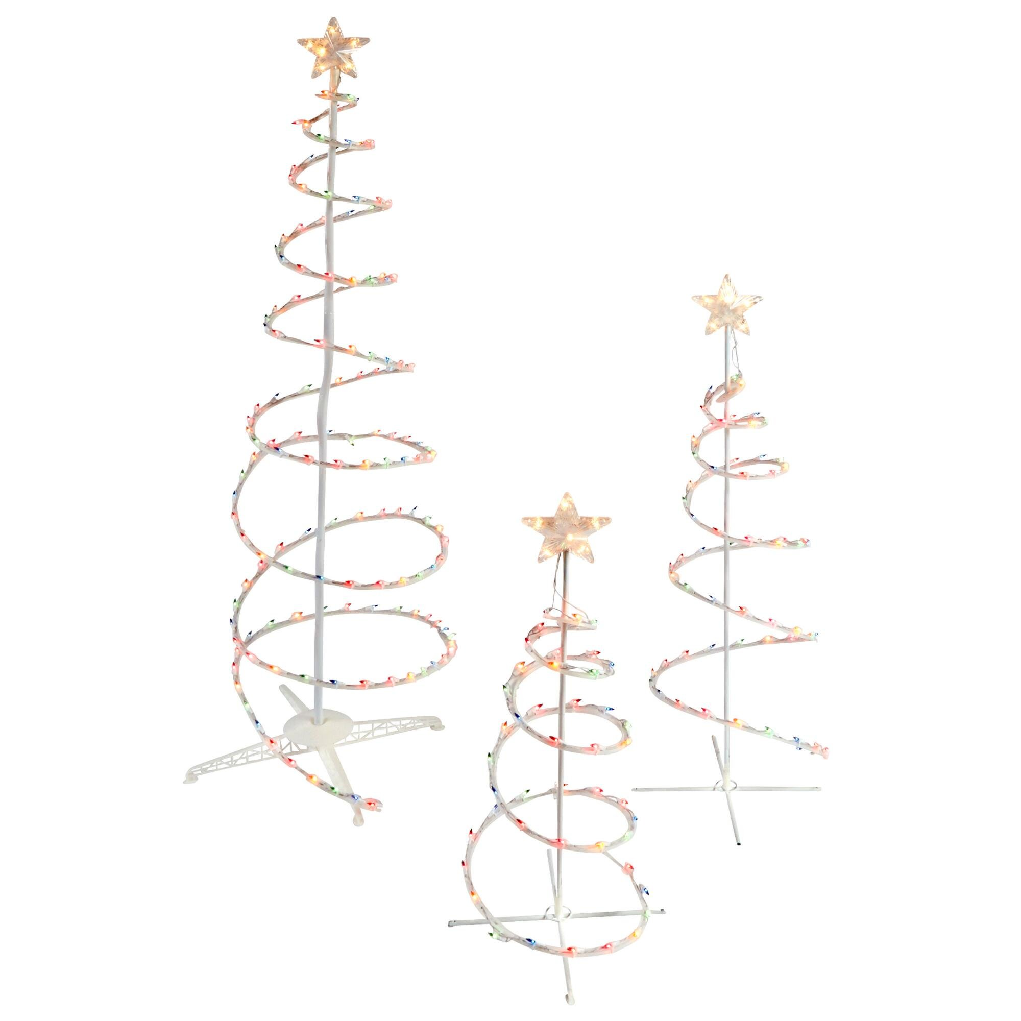 Set of 3 Lighted Spiral Christmas Trees - 3 Ft 4 Ft and 6 Ft - 270 Multi-Colored Lights - Winter Wonder Lane