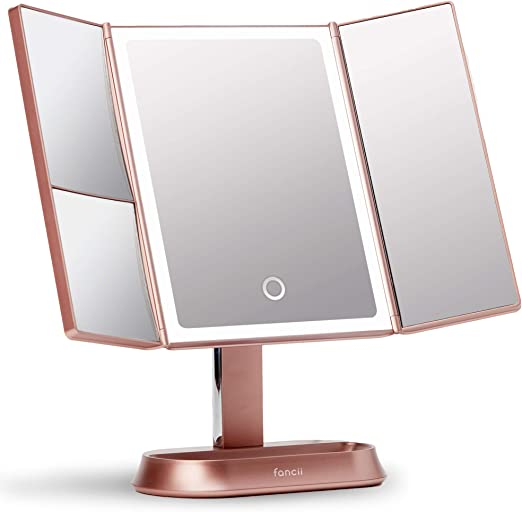 Fancii Makeup Mirror with Natural LED Lights, Lighted Trifold Vanity Mirror with 5X & 7X Magnifications - 40 Dimmable Lights, Touch Screen, Cosmetic Stand - Sora (Rose Gold)