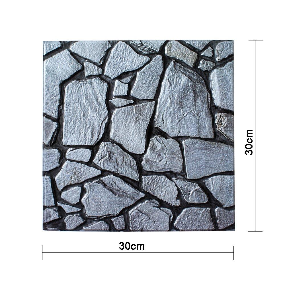 Amazon.com: cheerfullus 10PCS 3D Tile Sticker Stone Wallpaper Rock ...