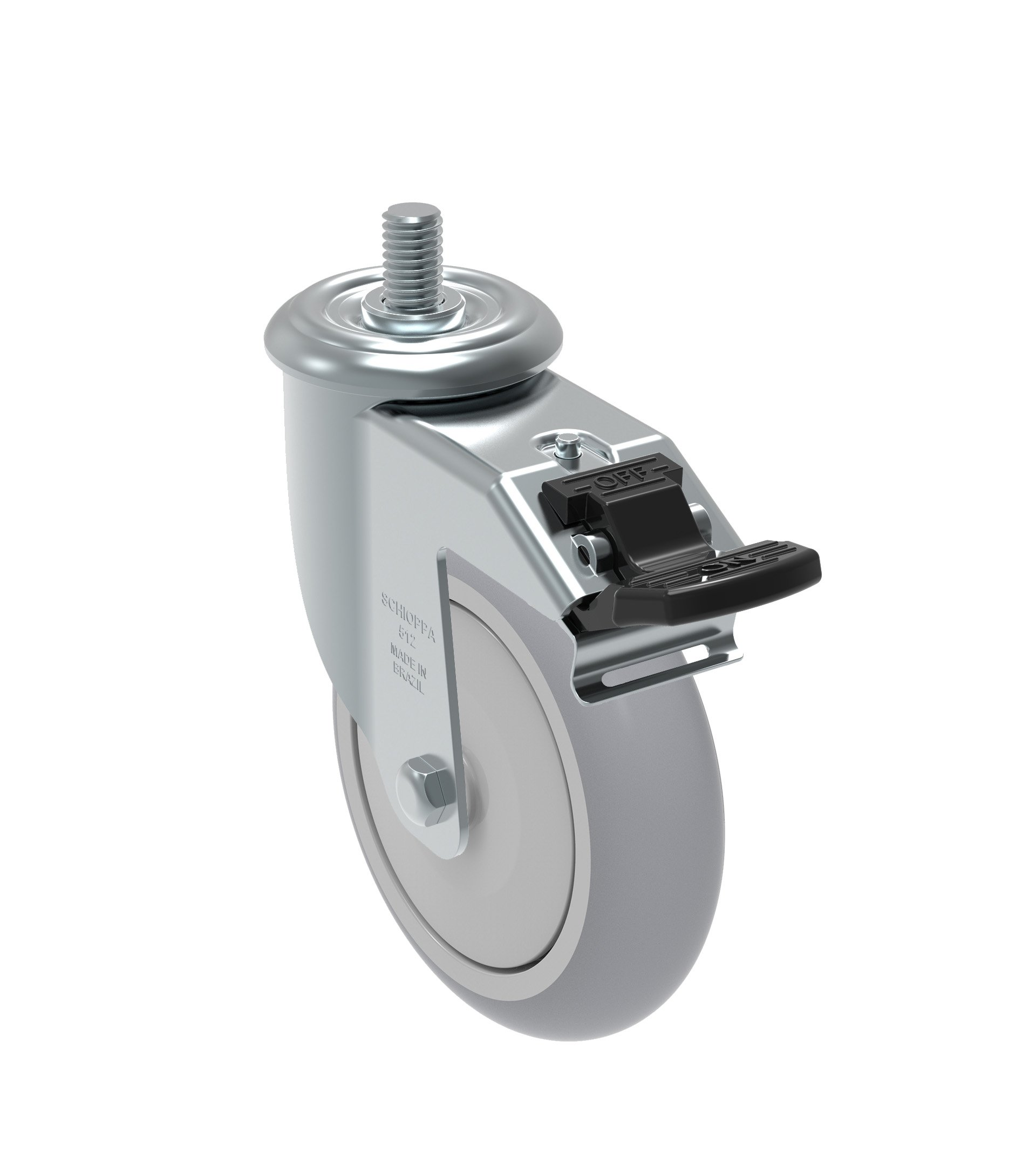 Schioppa GLEED 512 NPE G L12 Series 5'' x 1-1/4'' Diameter Swivel Caster with Total Lock Brake, Non-Marking Polypropylene Precision Ball Bearing Wheel, 3/8'' Diameter x 1'' Length Threaded Stem, 325 lb by Schioppa (Image #1)