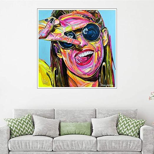 WSNDGWS Carácter Pintura al óleo Cara Decoración del hogar ...