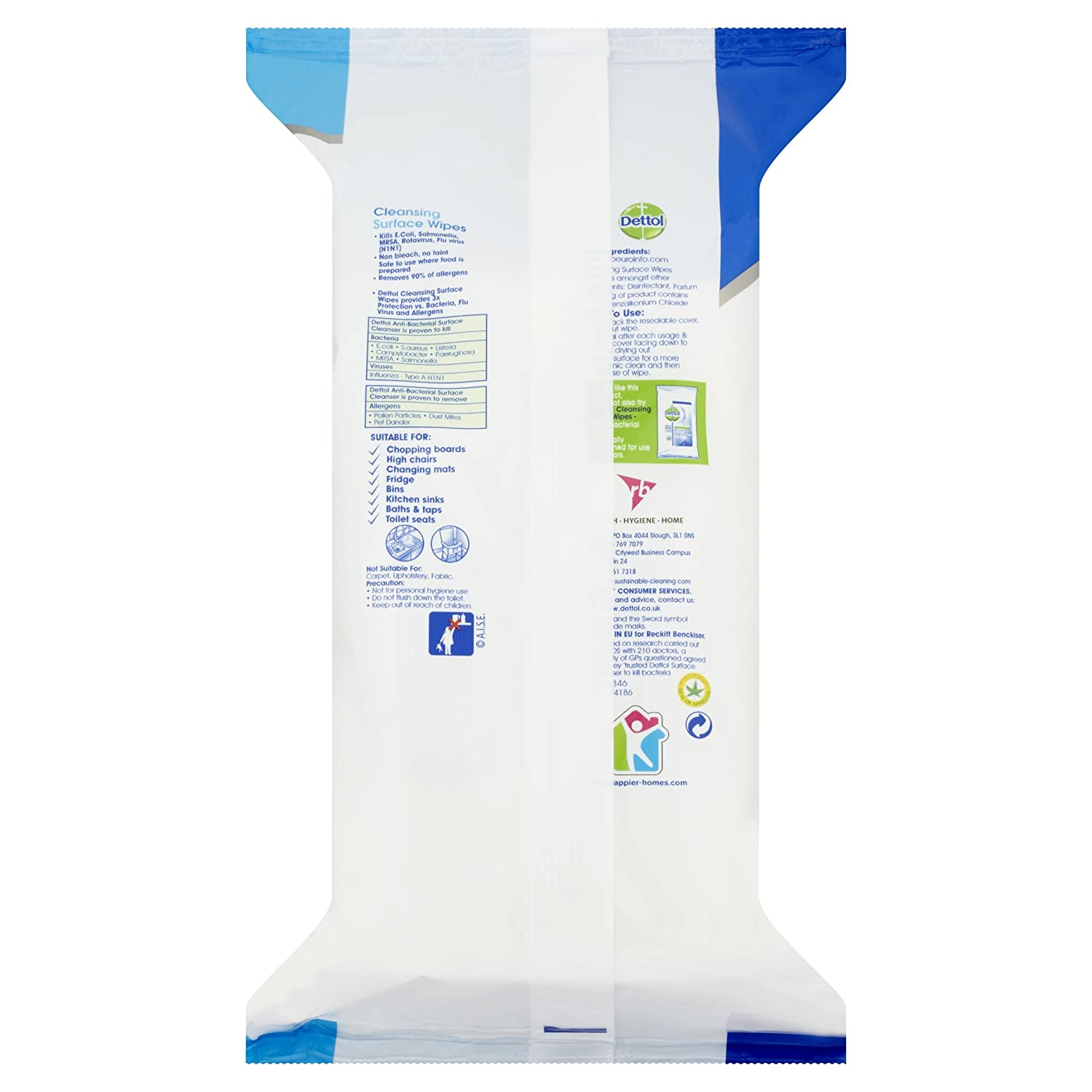 Dettol Surface Wipes Anti bacterial 126 STK antibacteriana superficies Toallitas: Amazon.es: Hogar