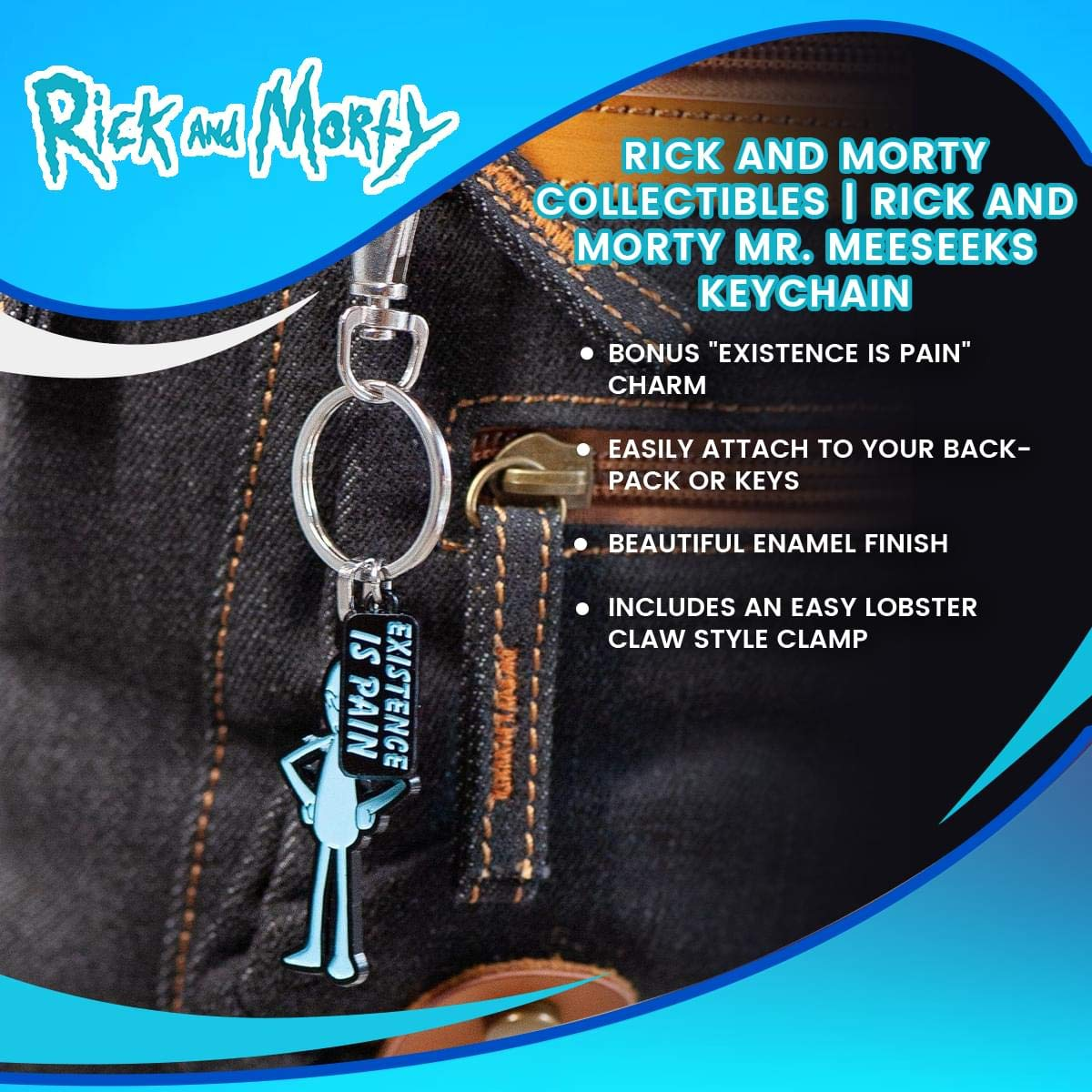 Rick and Morty Mr. Meeseeks Enamel Key Chain: Amazon.es ...