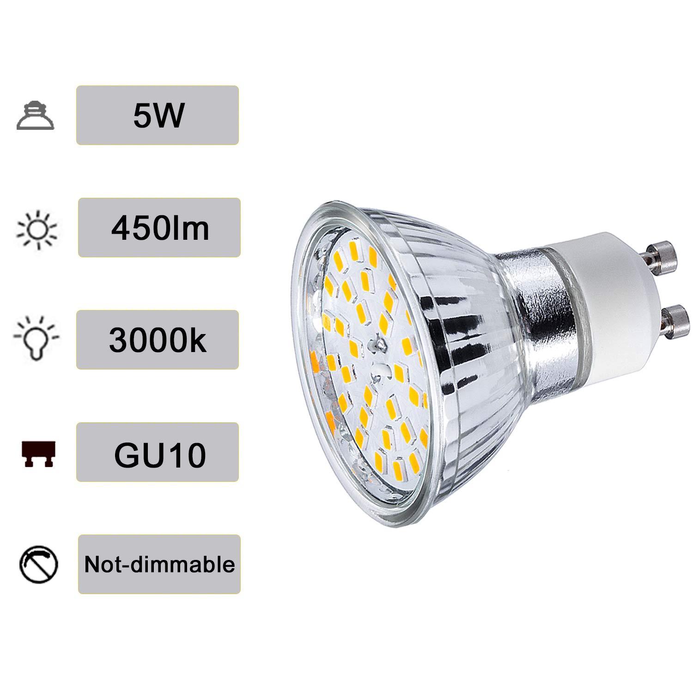 GU10 Faretti Lampadine LED 5W Bianca Calda 3000K GU 10 AC 220V Equivalenti a Lampadine Alogene da 50W Luce 450LM Incasso Angolo del Fascio di 120 Gradi Confezione da 10