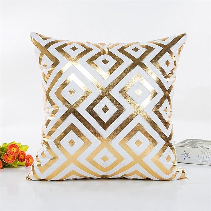 Amazon.com: Super Soft Throw Pillow Case Cover Gold Foil, FreshZone ...