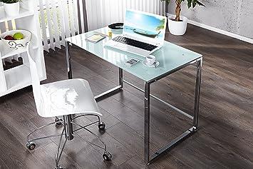 Exklusiver Design Schreibtisch LOTUS 90cm Weiss Sicherheitsglas Platzsparend