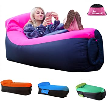 MAMBLE Inflatable Lounger Sofa Portable Bed Air For Travelling Camping Beach