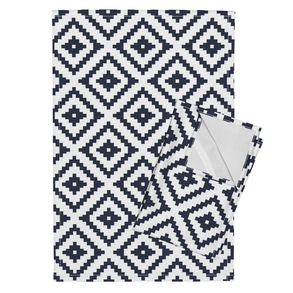 Roostery Aztec Tea Towels Nested Diamonds Briar Woods Diamonds by Littlearrowdesign Set of 2 Linen Cotton Tea Towels