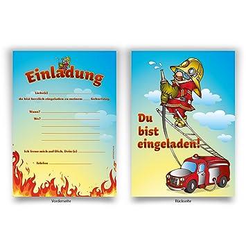 Einladungen (8 Stück) U0026quot;Feuerwehru0026quot; Zum Geburtstag Einladungskarten  Karten