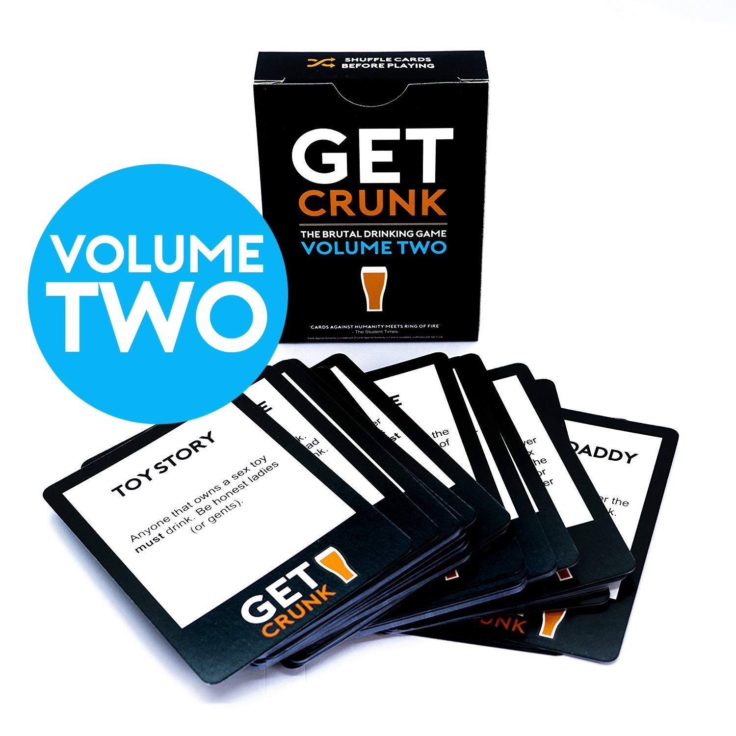 Get Crunk Volume 2 - The Brutal Card Drinking Game for Students, Pre Drinks, Stag & Hen Parties. You will be abused!