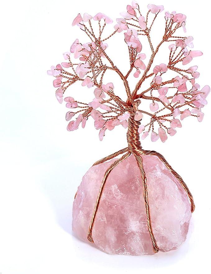 Yoga Gift Genuine Rose Quartz 2.5 inches! Inspirational Gift Rose Quartz Tree of Life Pendant Healing Jewelry Reiki Healing