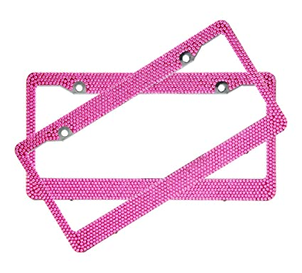 Amazon.com: Hot Pink Crystal Rhinestone License Plate ABS Chrome ...