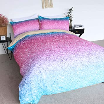 Blessliving Pink Glitter Bedding 100 Cotton Sparkle Duvet Cover Set 3 Pieces Girly Turquoise Blue And Pink Cute Bedspreads Twin