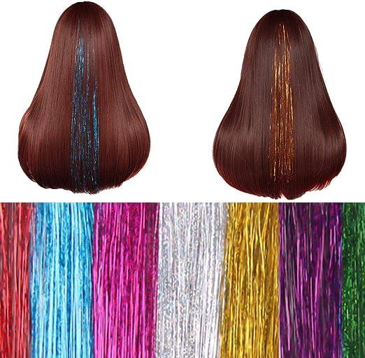 NATUCE 4800 Piezas Pelo de Oropel, 12 Colores 120CM Hilos de Extensión de Pelo Brillante, Cabello Oropel, Kit de Extensión de Pelo, Extensión de ...