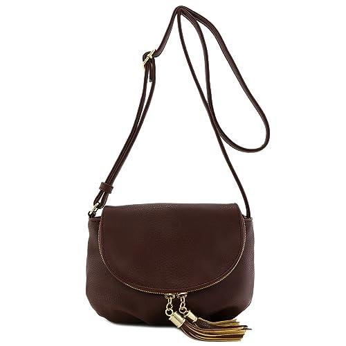 78ef6c943e Tassel Accent Small Half Moon Crossbody Bag Coffee  Handbags  Amazon.com
