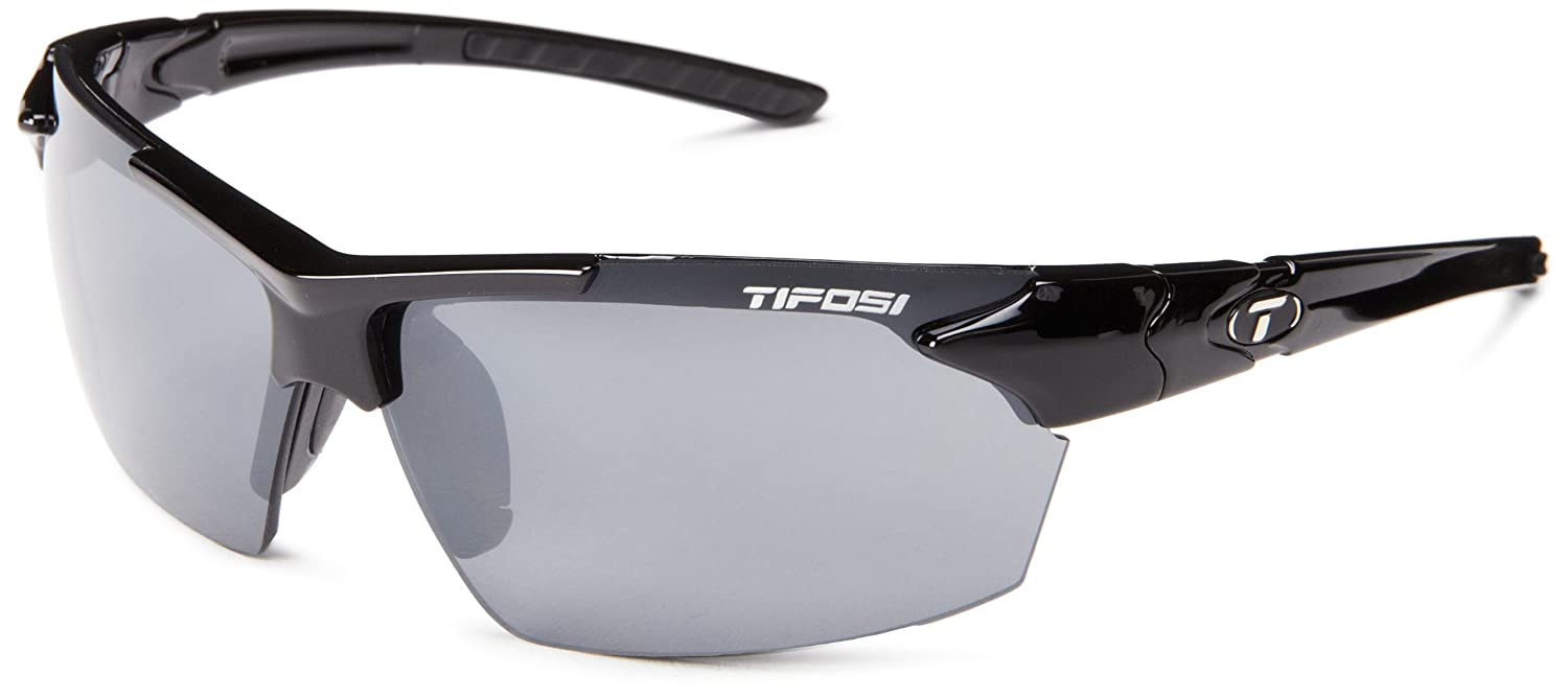 eaa6a240a5a9 Amazon.com: Tifosi Jet 0210400270 Wrap Sunglasses,Gloss Black Frame/Smoke  Lens,One Size: Clothing