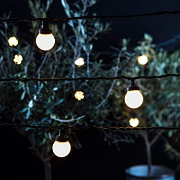 100 warm white led outdoor connectable festoon party lights pro 100 warm white led outdoor connectable festoon party lights pro series on green cable by lights4fun aloadofball Choice Image