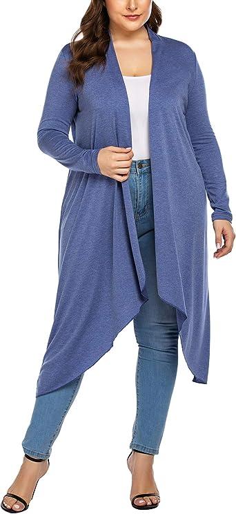 Women Plus Size Pure Color Casual Open Front Coat Cardigan Duster Jacket Outwear