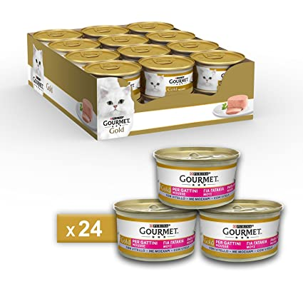 Gourmet Gold Mousse para El Gato, con Ternero, 85 g – Pack de 24