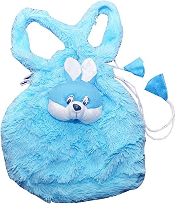 Punyah Creations Fur Potli Blue Toy Bag with Bunny