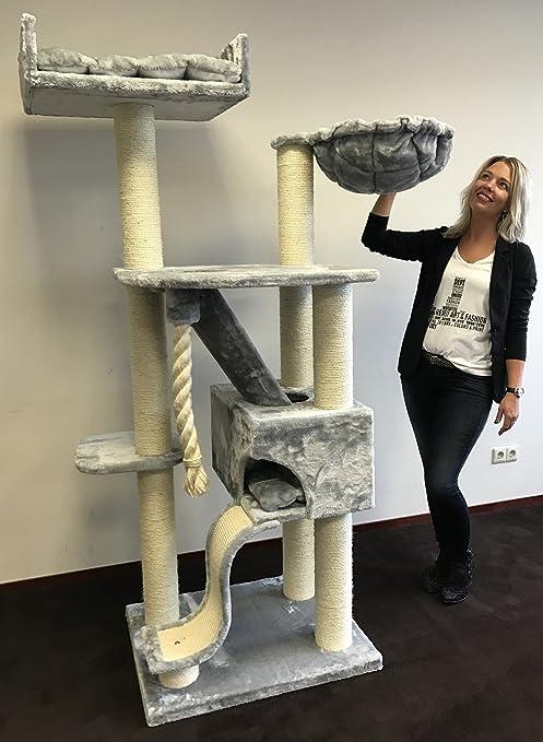 Rascador para gatos grandes Kilimandjaro de Luxe Gris claro baratos arbol xxl maine coon gato gigante sisal muebles sofa casa escalador casita torre Árboles rascadores cama cueva repuesto medianos: Amazon.es: Productos para