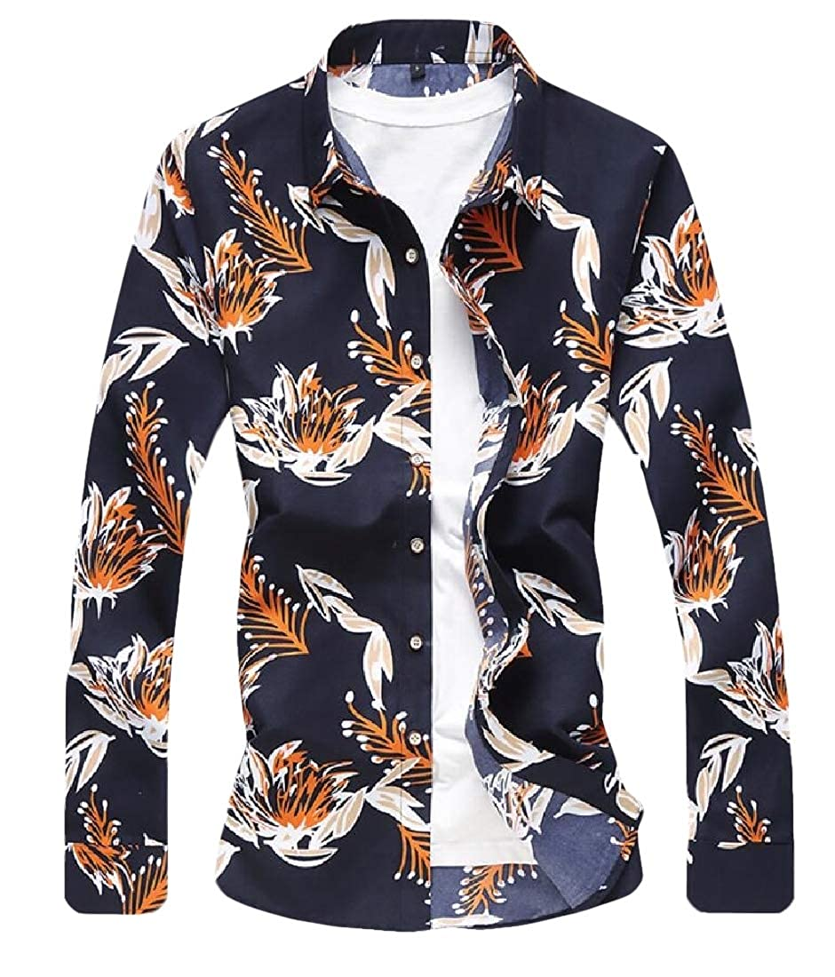 Gocgt Mens Floral Printed Summer Loose Tops Blouses Button Down Shirt