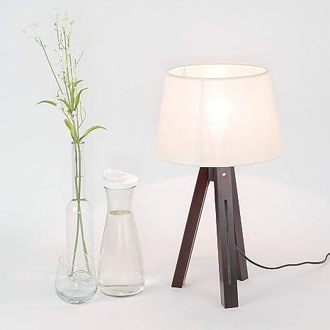 Lámpara de mesa Madera pantalla de tela trípode Diseño escandinavo ...
