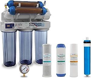 Max Water 6 Stage Reef Aquarium Reverse Osmosis System/Reverse Osmosis System/RO Water Filtration System/RO Water Purifier RODI System + HM Inline TDS Meter 200 GPD