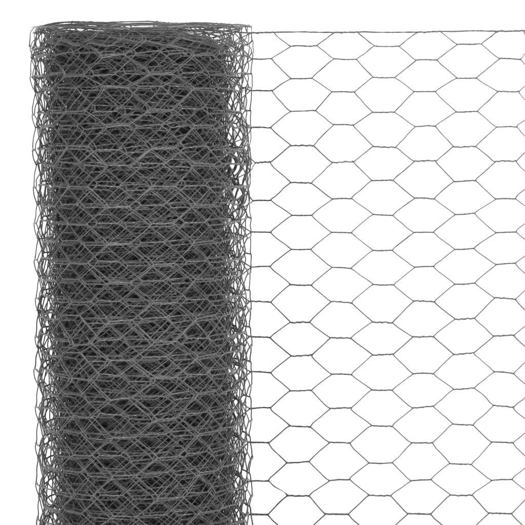 Festnight Mallas de Alambre Malla Hexagonal Valla Metalica Longitud de Malla 25 mm Acero con Recubrimiento de PVC Gris 25 x 0,75 m