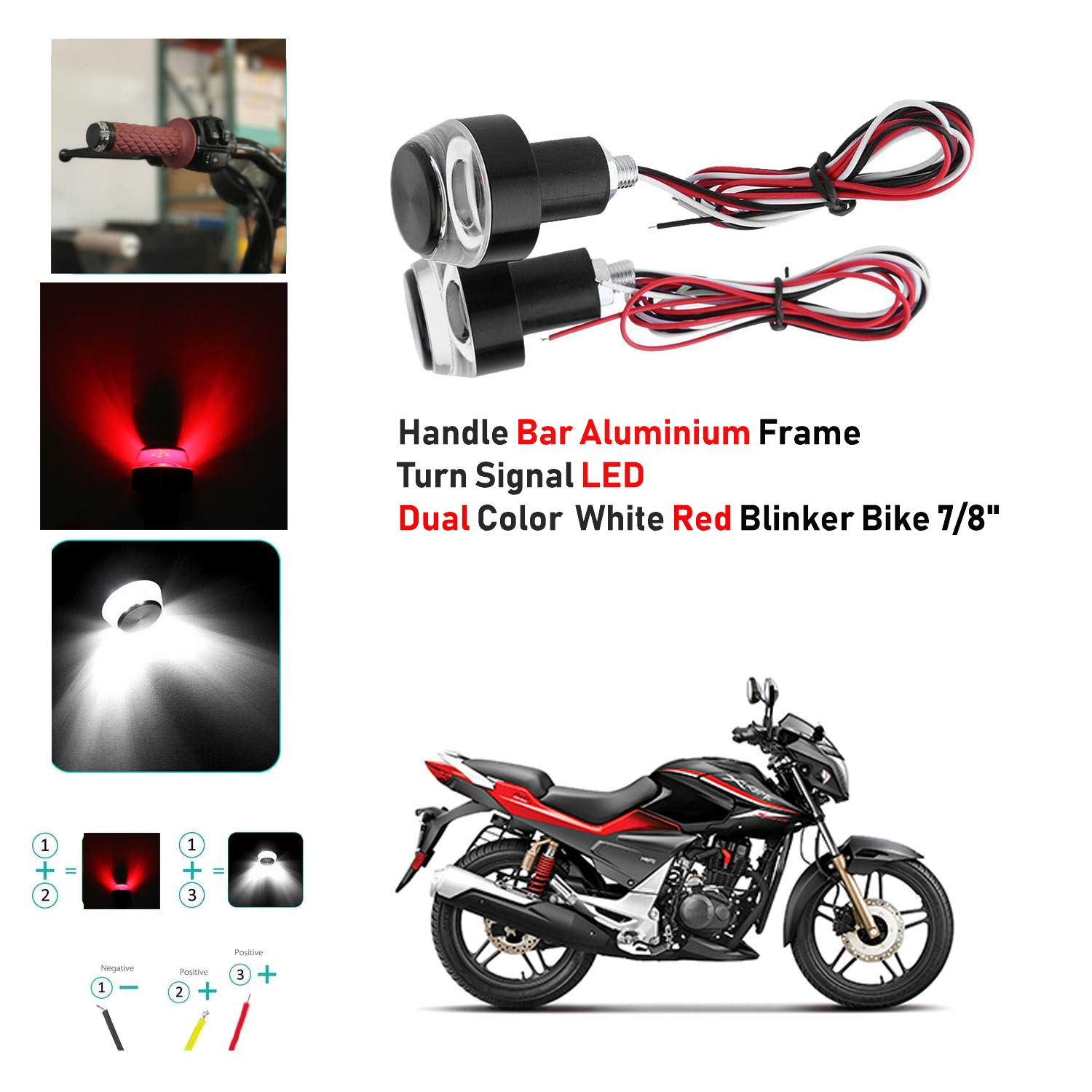 2* Motorcycle Turn Signal Indicator License Plate LED Colorful Bulb Bolt Light