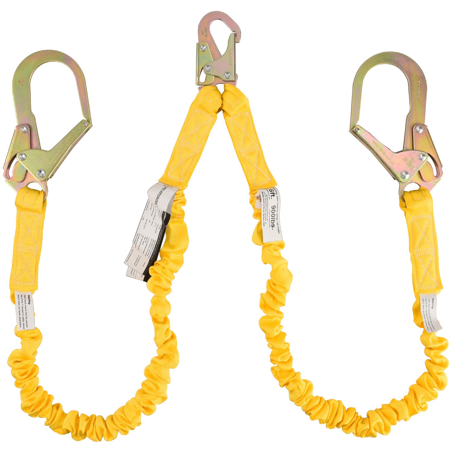 WELKFORDER Double Leg 6-Foot Fall Protection Internal Shock Absorbing Stretchable Safety Lanyard with Snap & Rebar Hook Connectors ANSI Complaint by WELKFORDER