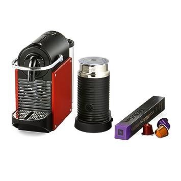 Magimix Nespresso Pixie Máquina de café con Aeroccino - Rojo Carmín (Producto con enchufe de