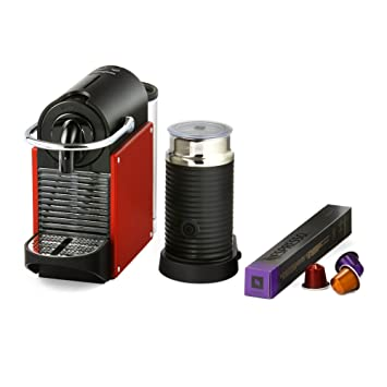 Magimix Nespresso Pixie Máquina de café con Aeroccino - Rojo Carmín (Producto con enchufe de UK): Amazon.es: Hogar