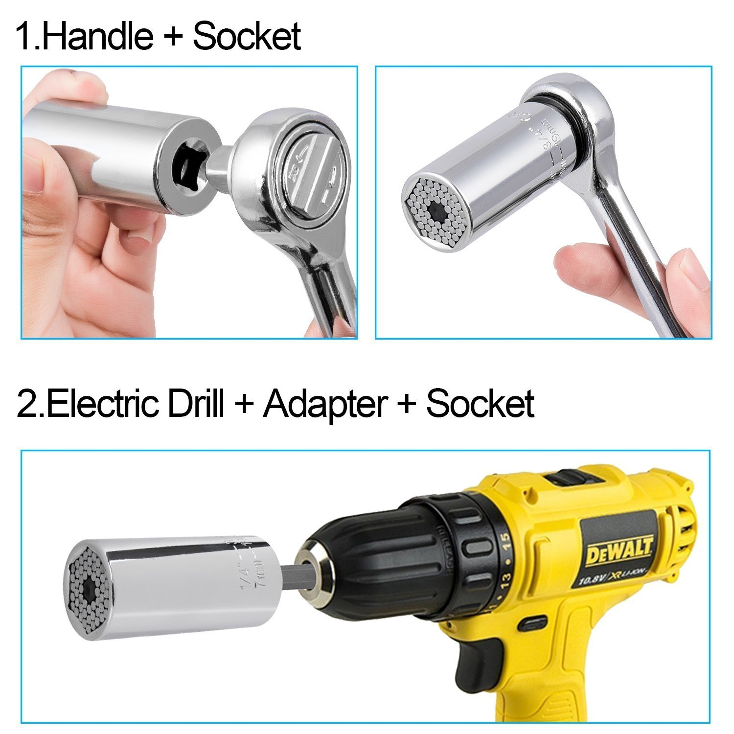 Universal Socket - Zpisf 7-19mm Socket Adapter Grip, Universal Wrench Head Set Socket Sleeve with Power Drill Adapter, Professional Magic Multi Bicycle Car/Auto Repair Hand Tools by Zpisf (Image #4)