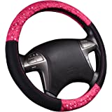 NEW ARRVIAL - CAR PASS Delray Lace and Spacer Mesh Steering wheel covers universal for vehicles,Suv(Rose Red)