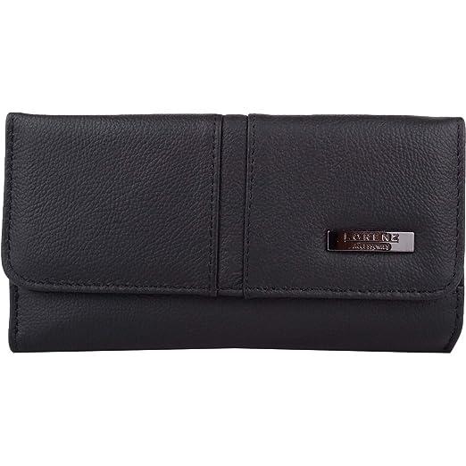 be76c455bd75 Lorenz Women's Designer Leather Purse Medium Black at Amazon Women's ...