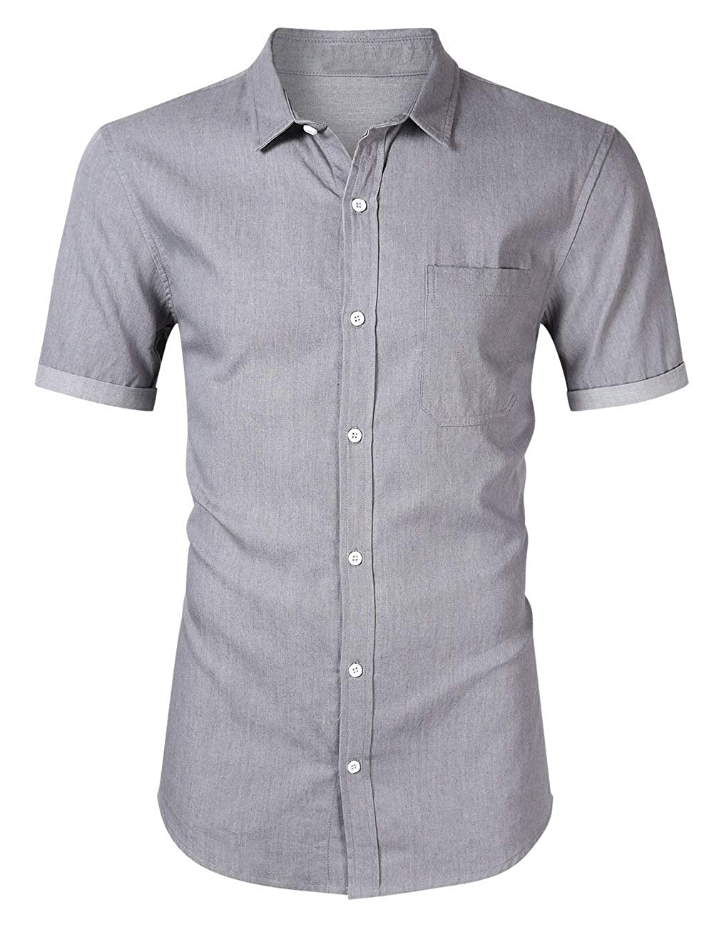 KLJR Men Short Sleeve Denim Lapel Casual Button Front Shirt Blouse Top