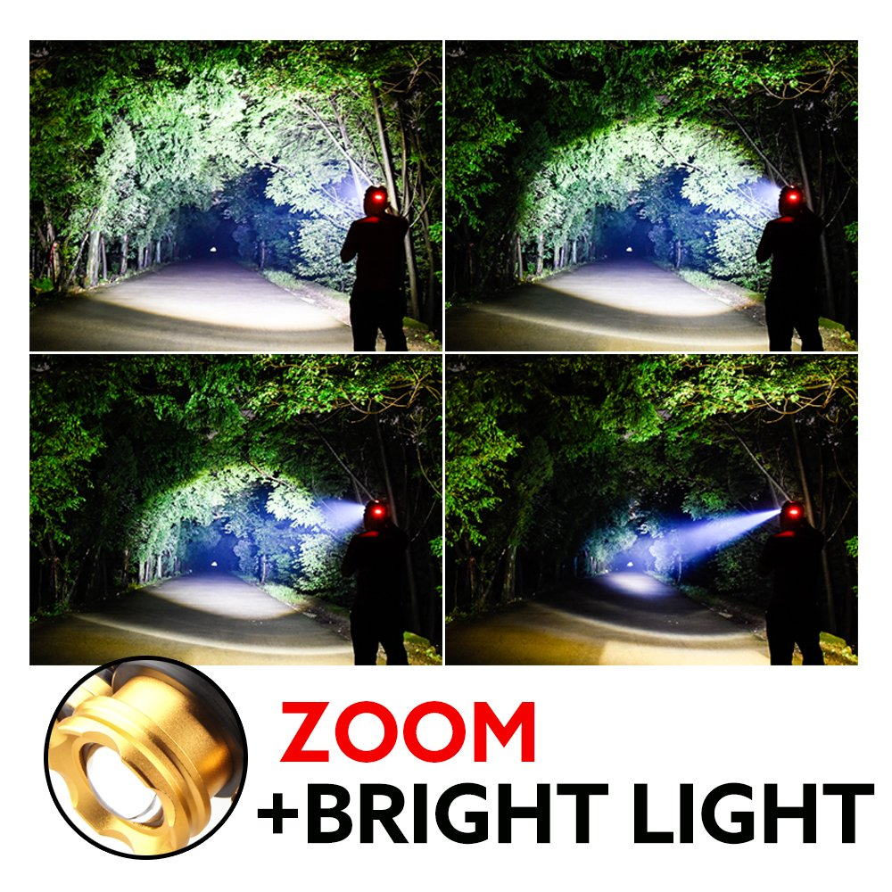 FightingGirl 5 Led Headlamp 12000 Lumen Flashlight- Rechargeable 18650 Headlight Flashlights Waterproof Hard Hat Light Bright Head Lights Camping Running Hiking Headlamps by FightingGirl (Image #7)