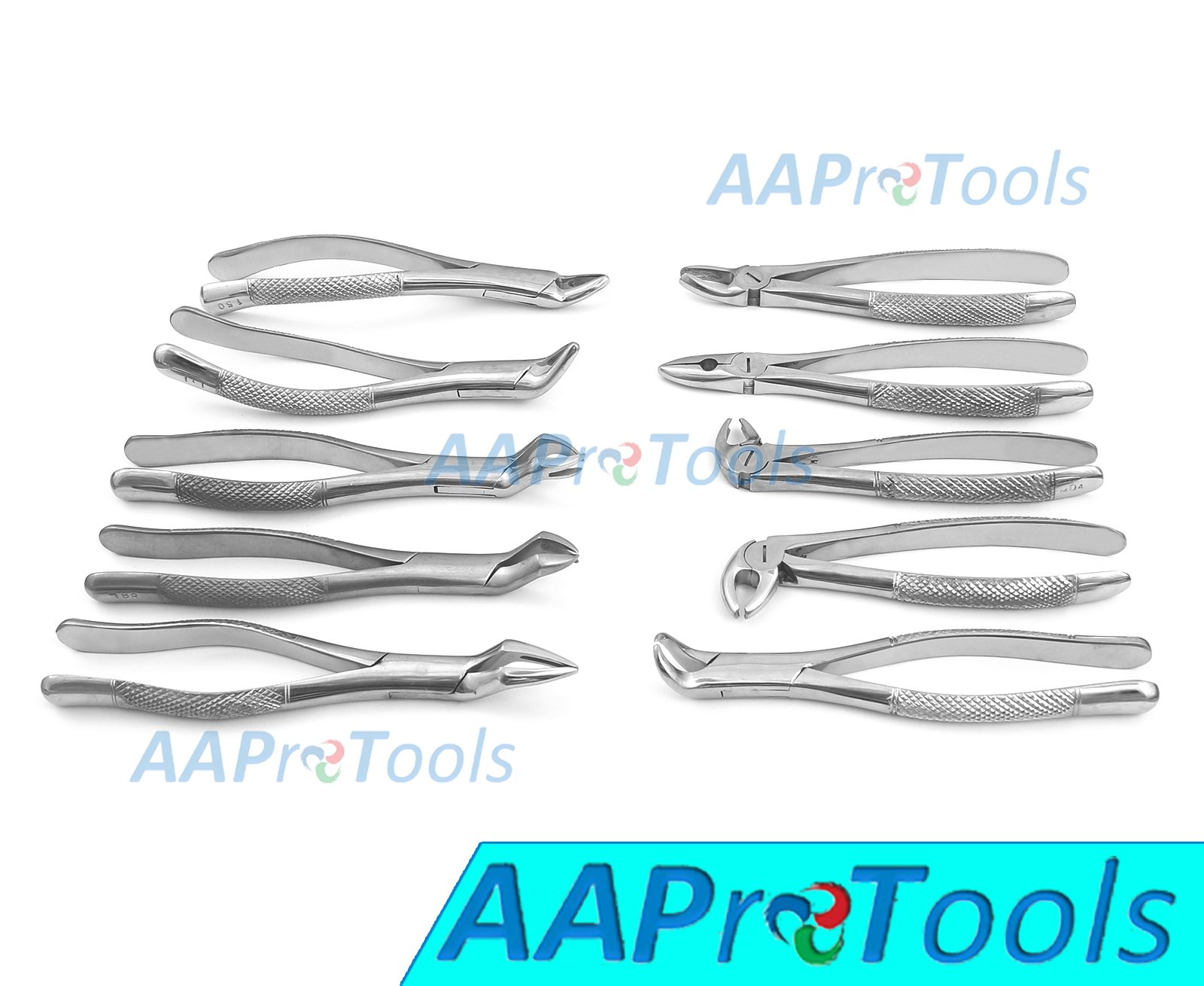 AAPROTOOLS 10 PCS DENTAL EXTRACTING FORCEPS 23, 65, 88L, 88R, 150, 151, MD1, MD2, MD3, MD4 LOWER UPPER FULL SETS A+ QUALITY